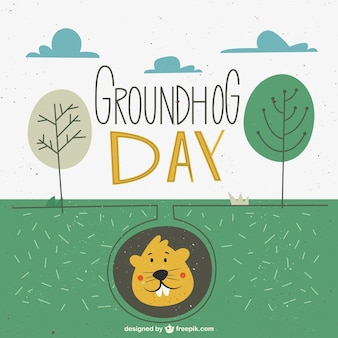 Landscape groundhog day in a retro style
