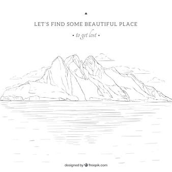 landscape sketch background and inspirational phrase