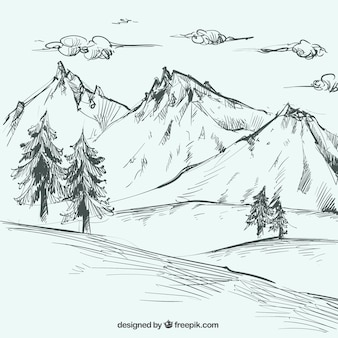 Landscape sketch with mountains and pines