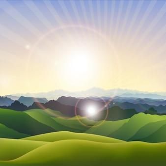 Landscape, sun, brightness