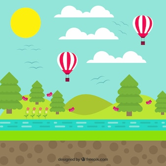 Landscape with balloons in flat design