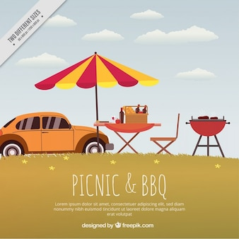 Landscape with car and barbecue party background in vintage style