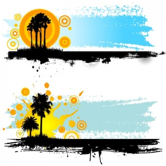 Landscape with palms silhouettes