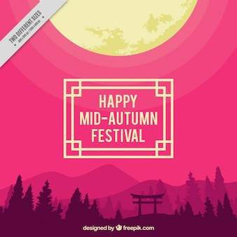 Landscape with purple background to celebrate mid-autumn festival