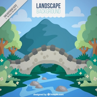 Landscape with river in flat style