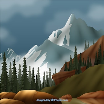 Landscape with white mountains