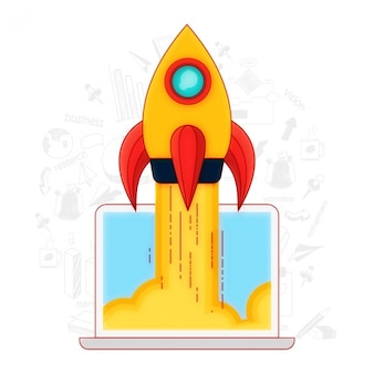 Laptop background with great rocket