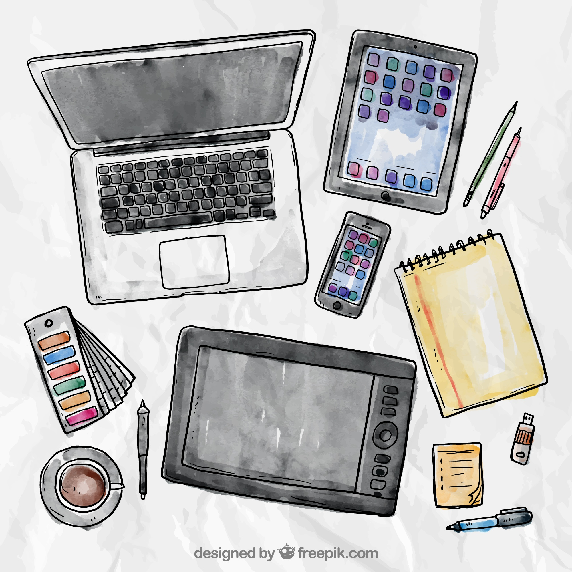 Laptop Tablet Smartphone and Writing Tools