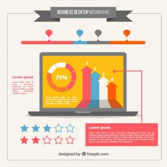 Laptop with infographic elements