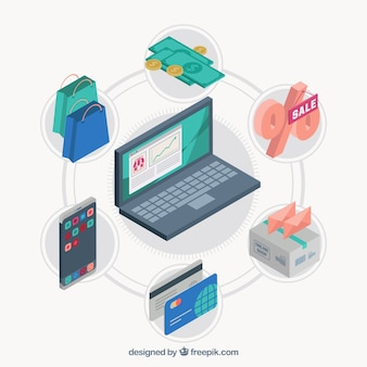 Laptop with isometric elements of online purchase