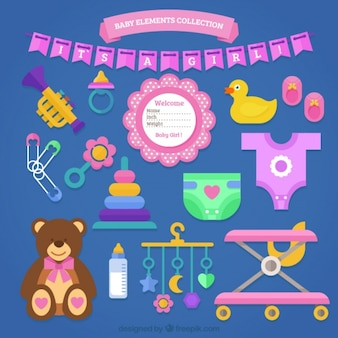Large assortment of baby items in flat design