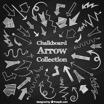 チョークで描かれた矢印の大規模なコレクション