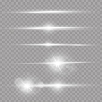 Laser beams, horizontal light rays set of white lens flares
