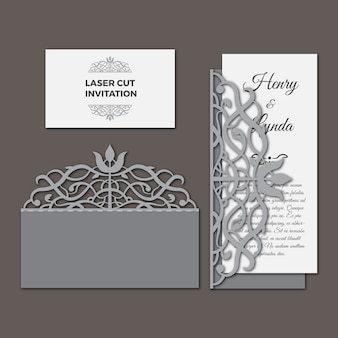 Laser cut wedding invitation set