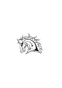 Lateral mustang horse head