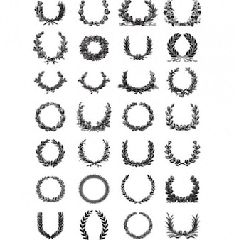 Laurels wreaths vector set