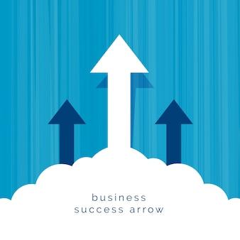Leadership business concept with arrow flying through clouds