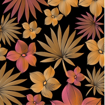 leaf and flower design with colorful lines. tropical pattern for print, graphic, decorative