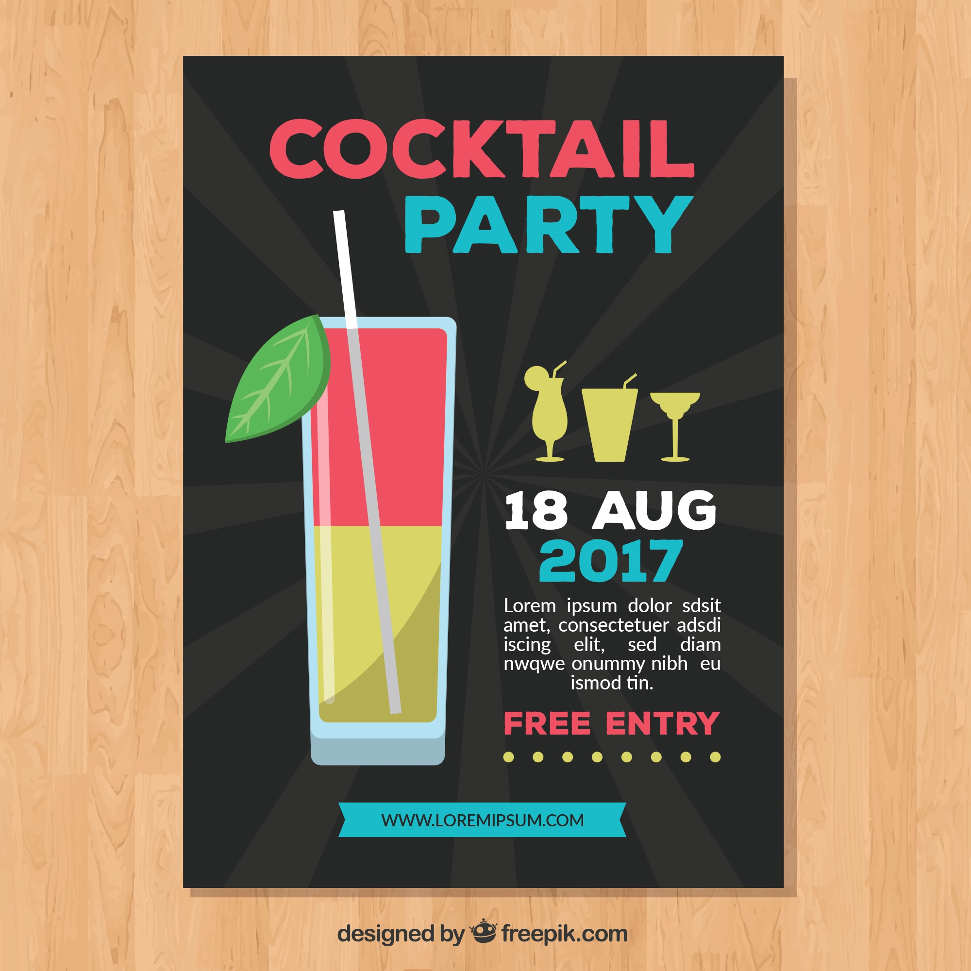 Leaflet in cocktail party in flat design