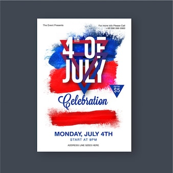 Leaflet template with blue and red stains for independence day