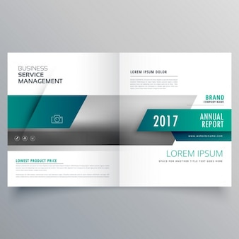 Leaflet template with green geometric shapes