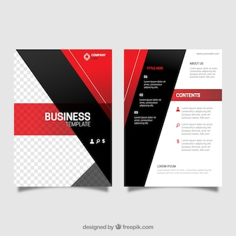 Leaflet template with red and black shapes