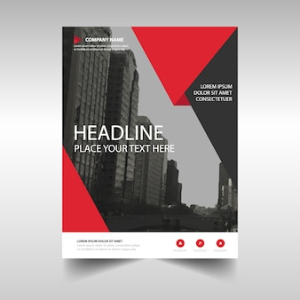 Leaflet template with red geometric shapes