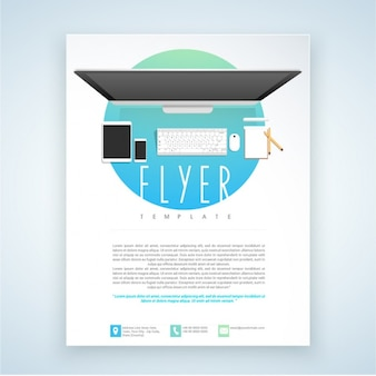 Leaflet template with technological devices