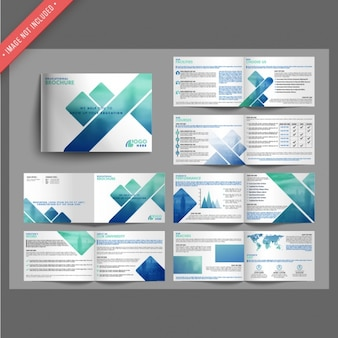 Leaflet templates with forms in blue tones