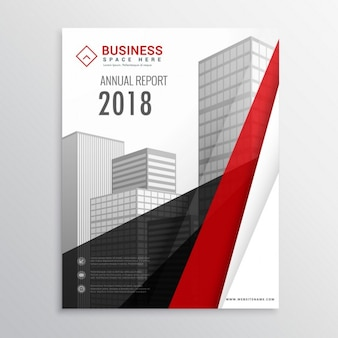 Leaflet with black and red geometric shapes