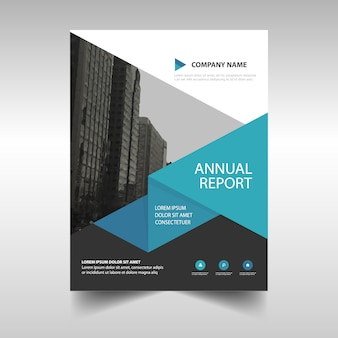 Leaflet with geometric shapes in blue tones