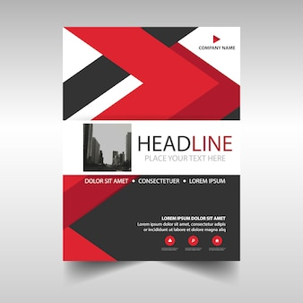 Leaflet with red geometric lines