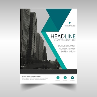 Leaflet with turquoise geometric lines