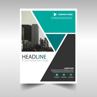 Leaflet with turquoise geometric shapes