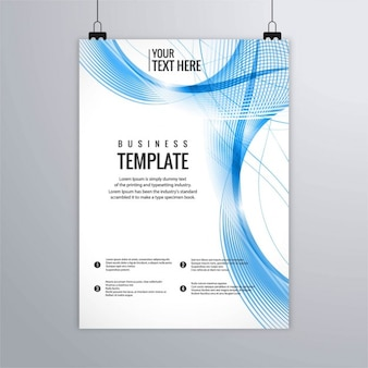 Leaflet with wavy lines, blue tones