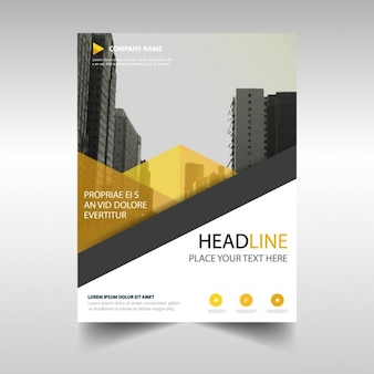 Leaflet with yellow geometric shapes
