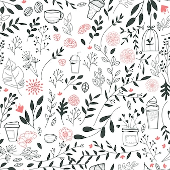 Leaves and drinks pattern background