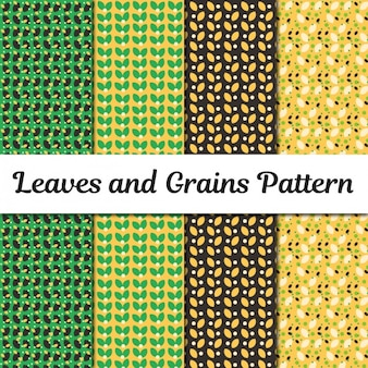 Leaves and grains patterns collection
