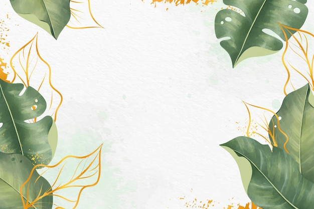 Leaves background with metallic foil