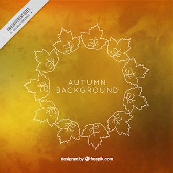 Leaves in circle with autumnal background