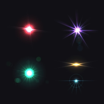 Lens bright effects realistic colored set isolated