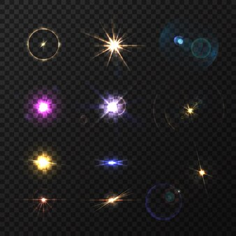 Lens flares and twinkle realistic colored set isolated