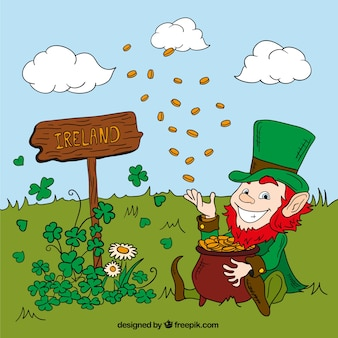 Leprechaun throwing coins on a meadow