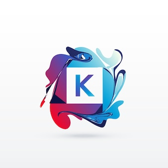 Letter k logo with abstract shapes