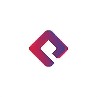Letter P Vector abstract logo. Corporate identity. Design elements. purple gradient shapes.