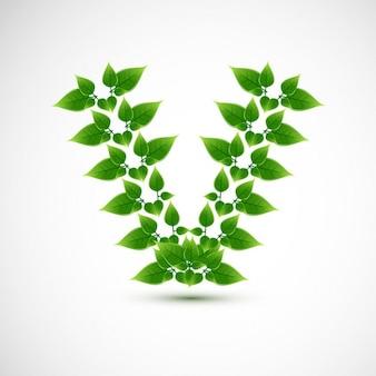 Letter V design with leaves