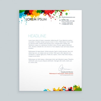Letter with colorful ink splash letterhead