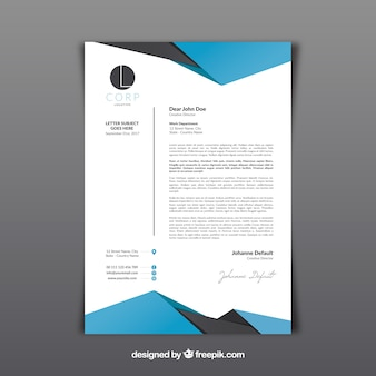 Letterhead template with abstract shapes
