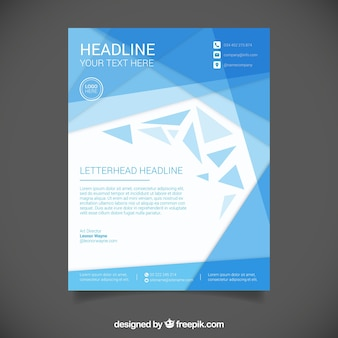 Letterhead template with blue abstract shapes