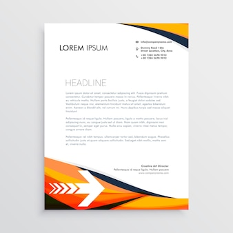 Letterhead template with wavy shapes and arrow